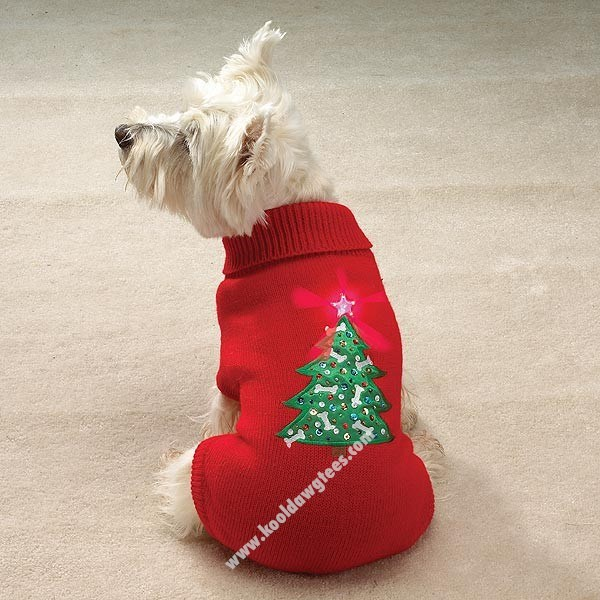 Pet Blinking Star Holiday Dog Sweater